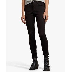 All Saints Stilt Skinny High-Rise Jeans, Jet Black
